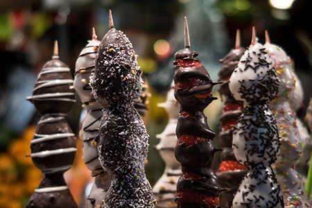 Chocolate & Fresh Fruit Fondue Skewers on sale at St Josep La Boqueria Market in Barcelona.  Catalan region of Spain