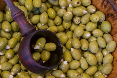 Fresh Green Olives stuffed with Almonds in London's Borough Market