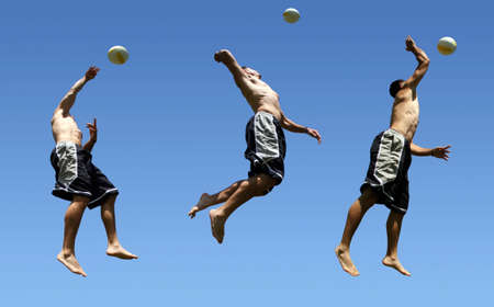 Multiple shots of a man playing volleyball Stock Photo - 220019