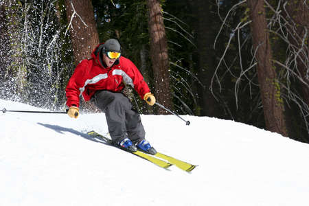 Skier on a slope in Lake Tahoe, California Stock Photo - 220811