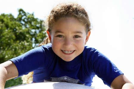 cute braces: Happy girl outdoors