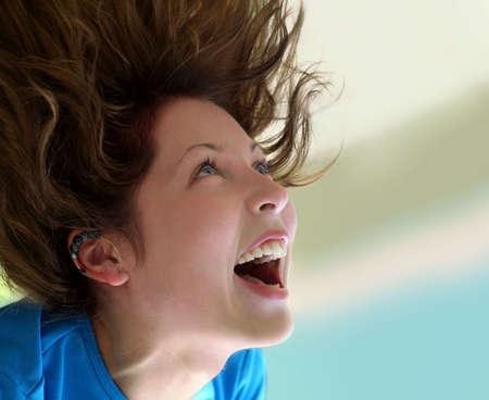 exuberant: Happy girl screaming
