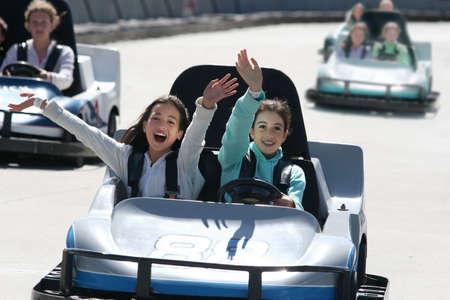 carting: Girls on go cart