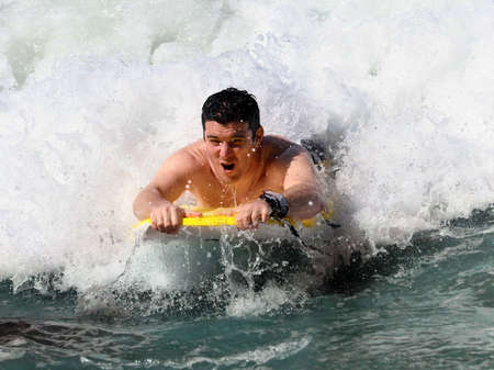 Boogie Boarding Stock Photo