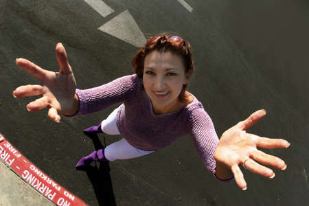 Woman with exaggerated hands photo