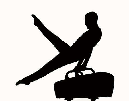 gymnastics sports: Silhouette of a man competing on pommel Stock Photo