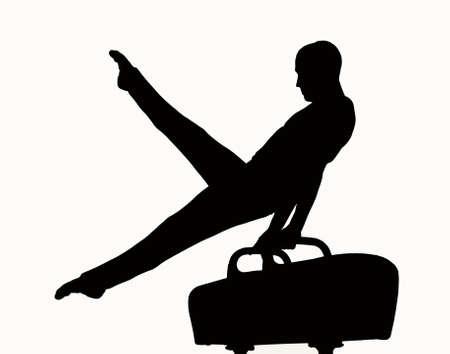 gymnastics: Silueta de un hombre que compiten en pommel
