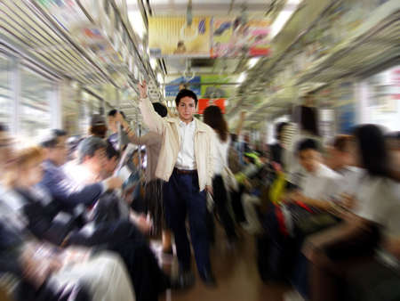 subway train: Young man in a subway Stock Photo