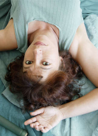 Beautiful woman lying upside down Stock Photo - 347502