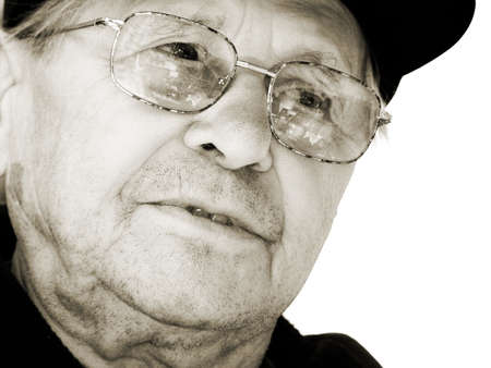 in loving memory: An old man thinking Stock Photo