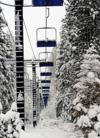 Abundant ski lift at Lake Tahoe photo