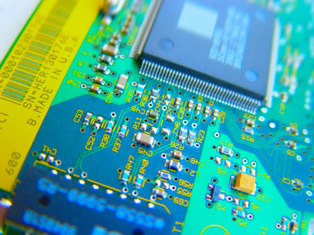 zoomed: Electronic circuit board Stock Photo