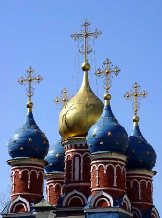 15th century: Domes of a 15th century church in downtown Moscow Stock Photo