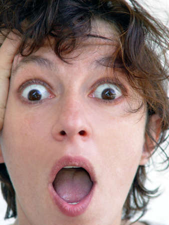 Closeup of a woman's face terrified by something Stock Photo - 347344