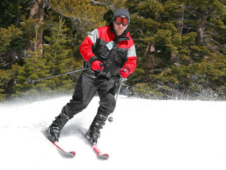 Skier on a slope at lake Tahoe, California Stock Photo - 347263