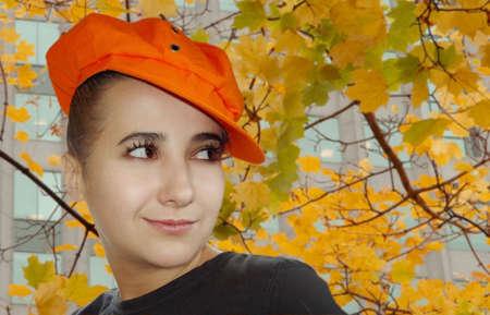normal school: Autumn portrait of a cute girl Stock Photo