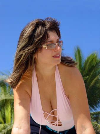 Beautiful woman at the tropical resort Stock Photo - 356013