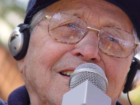 An old man singing photo