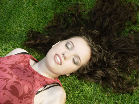 Beautiful girl on the grass Stock Photo - 352704