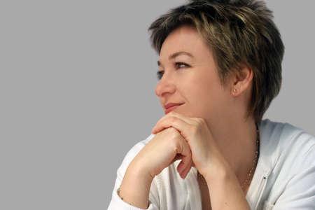 woman profile: Profile of a smiling woman