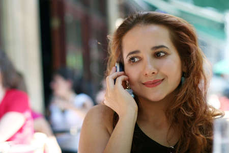 Young woman with a phone 免版税图像