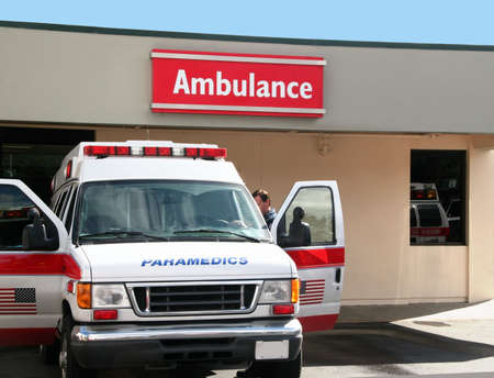 ambulance emergency: Paramedics car in front of the hospital Stock Photo