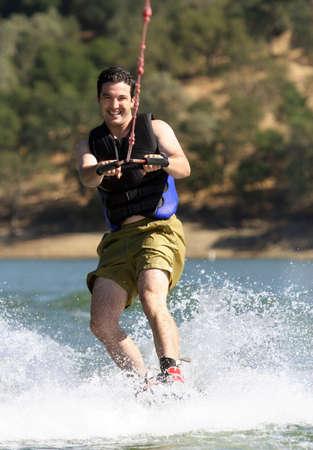 watersport: Man Wakeboarding on the lake Stock Photo