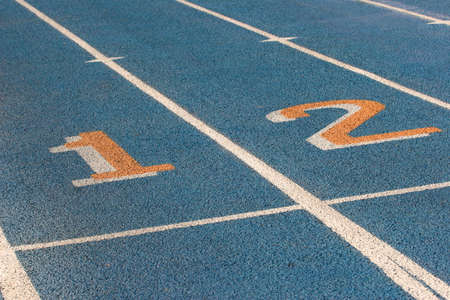 racetrack: Blue racetrack with lines and numbers