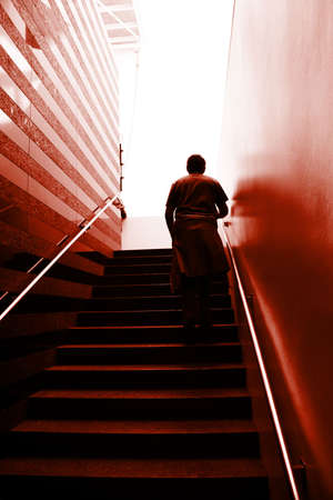 Man climbing on the stairs Stock Photo - 536859