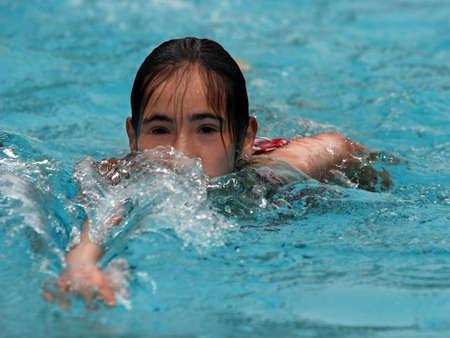 girl swimming in the pool Stock Photo