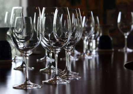 Wine glasses standing on a counter