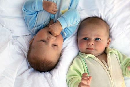 babies: Two baby boys twin brothers
