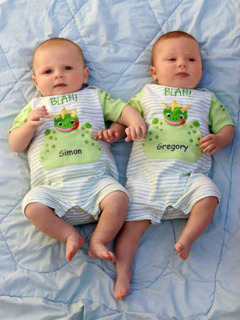 Two baby boys twin brothers