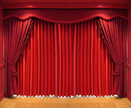 window curtains: Ornate red curtains covering the whole window