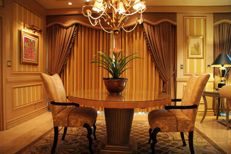 modern dining room: Luxury living room with table and two chairs