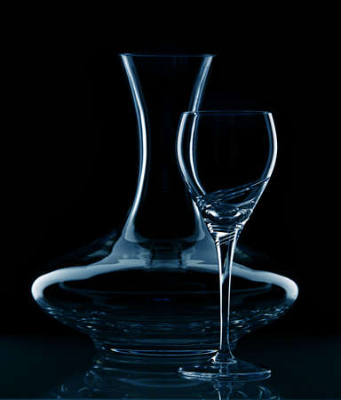 carafe: Still life in blue with carafe and wine glass