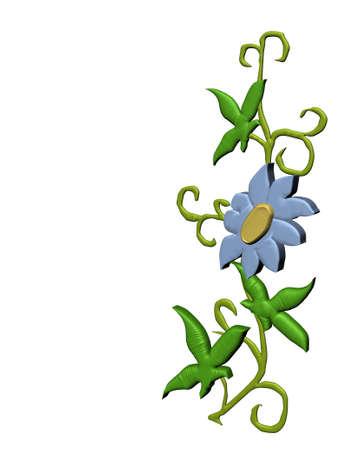 3D rendering of a children type flower on a vine 版權商用圖片