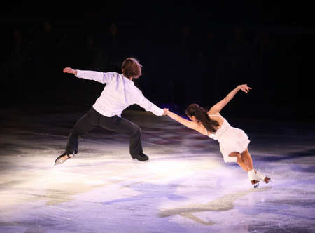 Professional figure skaters performing at Stars on ice show