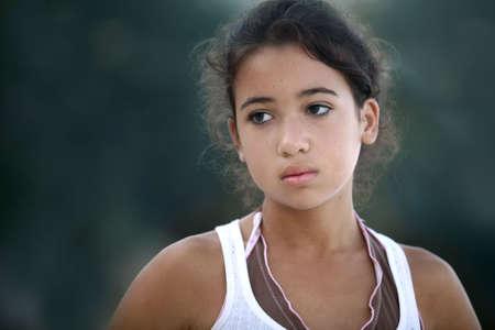 Beautiful sad asian teenage girl  photo