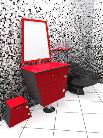 3D rendering of a modern bathroom in black, white and red Stock Photo - 892129
