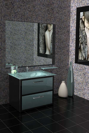 3D rendering of a modern bathroom with glass vanity.The photo on the wall is my own photograph Stockfoto