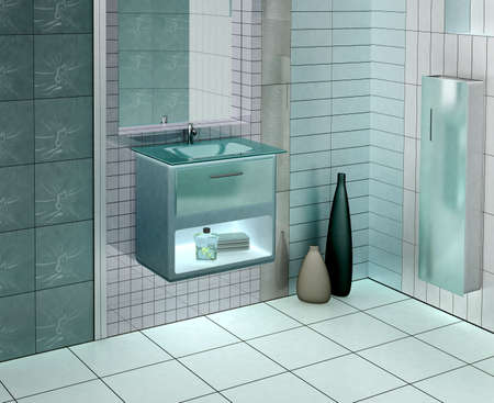 3D rendering of a modern bathroom with glass vanity.The photo on the wall is my own photograph Stock Photo - 903734
