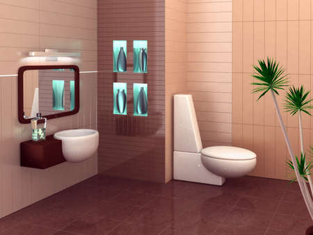 3D rendering of a modern bathroom with in warm colors. Stock Photo - 903735