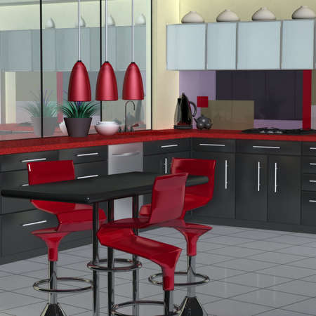 Modern kitchen in red, black and white