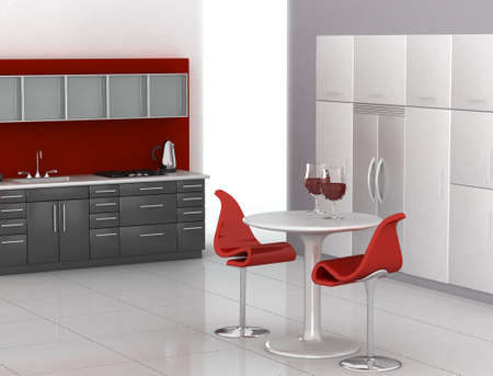 Modern kitchen in red, black and white photo