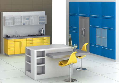 Modern kitchen with an island in blue and yellow photo