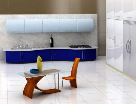 Modern kitchen with with blue cabinets and wooden table