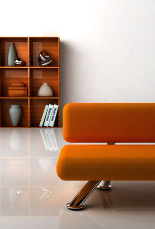 3D rendering of a modern interiorwith the orange couch.