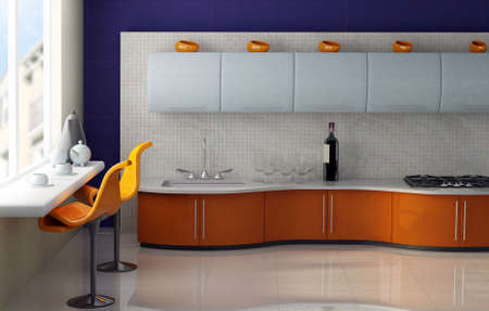 Modern kitchen with orange and blue cabinets