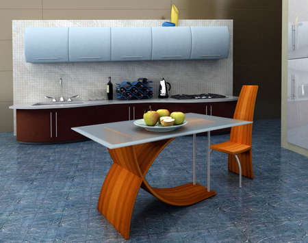 Modern kitchen with apples on the table photo